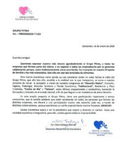Carta de agradecimiento de la Cocina Económica de Santander al grupo PITMA